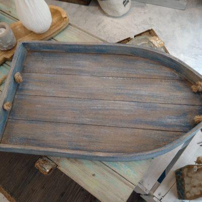 Plateau barque en bois veilli