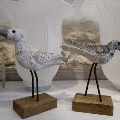 petits oiseaux bois sur socle